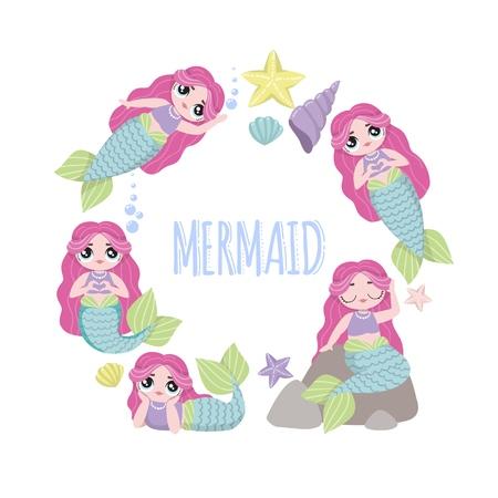 Cute Mermaid character in cartoon lol style. Set of beautiful mermaids with pink hair. Vector illustrations. 版權商用圖片 - 125477922