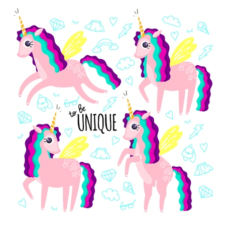 Set of beautiful cute unicorns and inscription to be unique
