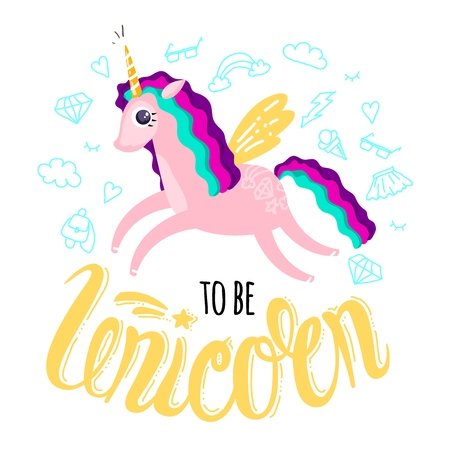 Beautiful cute unicorn and inscription unicorn. Isolated vector illustration
