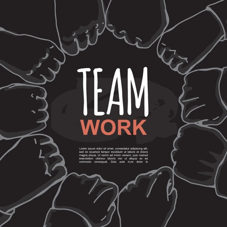 Group of business people fists tightly and put together, symbol of strong team work and sucess. Vector Illustration