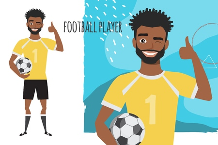 Positive black african american soccer player smiling and recommended.
