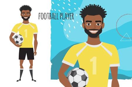black african american Football character. Soccer player Vector character smile 版權商用圖片 - 124091215