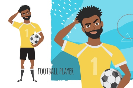 Portrait of handsome young thoughtful black african american soccer player. Vector character in cartoon style