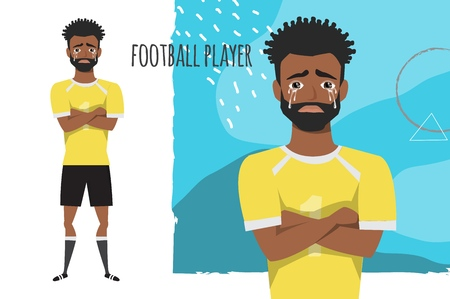 The black african american football player crossed his arms and cries. Mans tears and depression. The emotion of disappointment and sadness at the soccer player face. The male was crying.