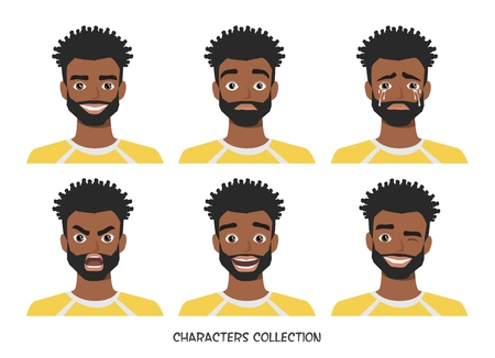 Avatar. Set of emotions and gestures to the young black african american man. 版權商用圖片 - 120906328