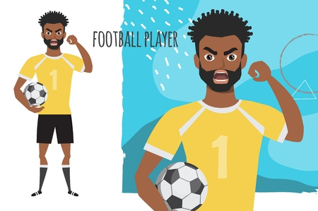 Angry black african american soccer player. Negative Emotions. Bad Days. Bad Mood Stressful men