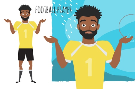 Young black african american football player doubt. Emotion of uncertainty and confusion on soccer player face. Cartoon style.