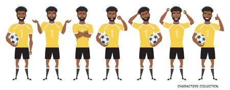 Football character. black african american soccer player different postures, emotions set