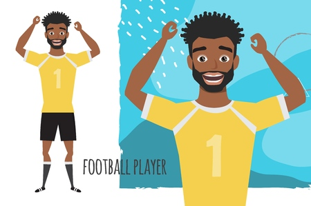 black african american football character. Soccer player Vector character smile