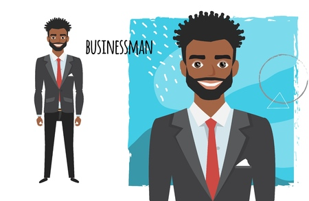 Full length portrait of Cartoon black african american Businessman. Character for rigging and animation. Vector illustration in a flat style.