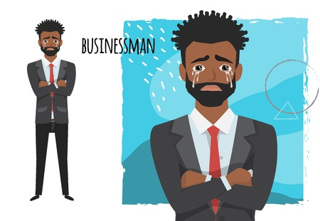 Cartoon vector of black african american businessman is sad crying, Business concept, Vector illustration.