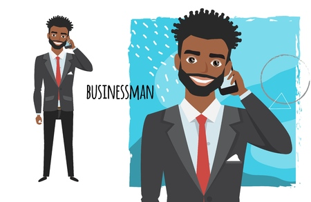 A black african american businessman is talking on the phone. Vector character in cartoon style.