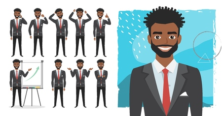 black african american business man. Set of emotions