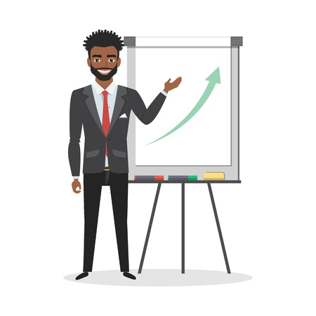 A black african american man holds a presentation on flip chart. Vector illustration in a flat style.