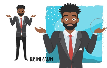 Young black african american businessman doubt. Emotion of uncertainty and confusion on guy face. Cartoon style. 向量圖像