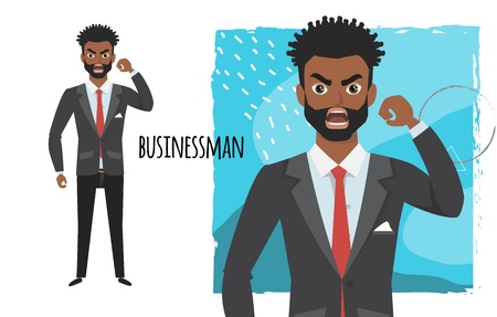 Angry black african american businessman. Negative Emotions. Bad Days. Bad Mood Stressful men
