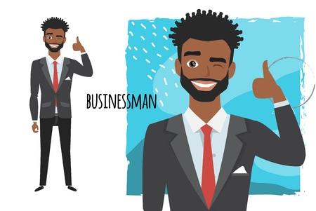 Positive black african american businessman smiling and recommended. Laughing man showing thumbs up