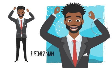 The black african american businessman is happy and smiling. Cartoon style man. Emotion of joy and glee on the man face. The man portrait.