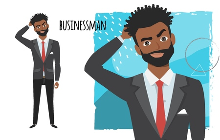 Portrait of handsome young thoughtful black african american businessman. Vector character in cartoon style Illustration