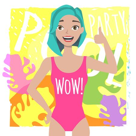 Portrait of a young positive girl in swimsuit showing thumb up
