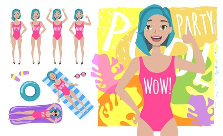 Young positive girl in swimsuit showing thumb up. Set of different emotions and poses