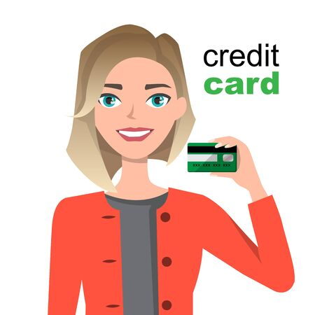 Young beautiful woman smiling, showing, presenting credit card for making paymen. 向量圖像