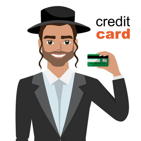 Young jew man smiling, showing, presenting credit card for making payment.