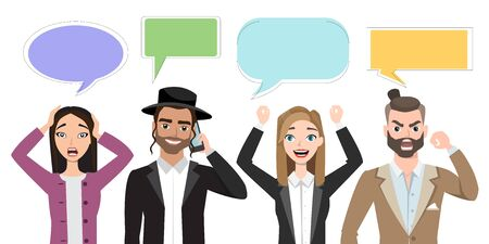 Set of multinational characters speaking with speech bubble