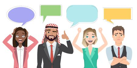 Set of multinational characters speaking with speech bubble. People in a cartoon style experiences different emotions. Illustration