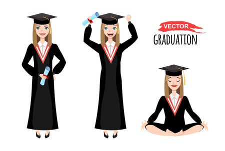 vector illustration of happy graduates with mortarboard. eps 10 Illusztráció