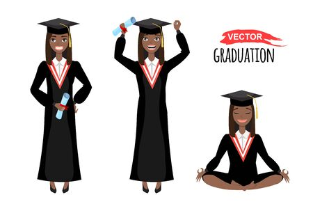vector illustration of happy black african american graduates with mortarboard. 向量圖像