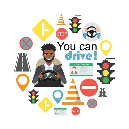Set of road symbols and black african american man driver character 向量圖像