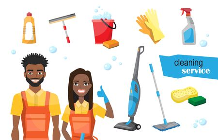 Professional cleaners team. Young black african american smiling couple are holding cleaning tools. Vector illustration of cartoon characters