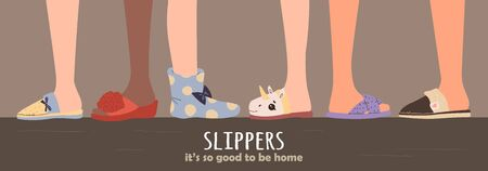 Set of different slippers. illustration with slippers on the feet. eps 10 Ilustração