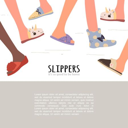 Set of different slippers. illustration with slippers on the feet. eps 10 向量圖像