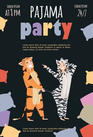 Colored pajama party poster. Vector template Slumber party 向量圖像
