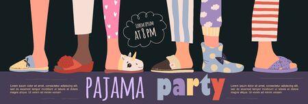 Pyjamafeestposter met leuke karakters. Uitnodiging voor slaapfeestje. Bewerkbare vectorillustratie