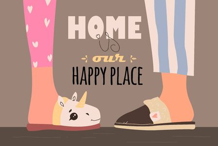 Home is our happy place. vector illustration with home slippers