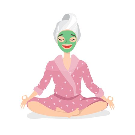 Beautiful young woman with facial mask on her face relax