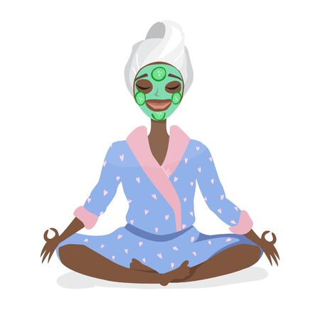 Beautiful young black african american woman with facial mask on her face relax Ilustração