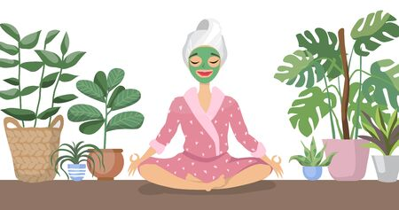 Beautiful young woman with facial mask on her face relax at home Vector Illustratie