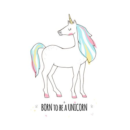 Beautiful cute unicorn and inscription born to be a unicorn isolated Banque d'images - 133782254