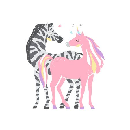 Beautiful cute pink unicorn and zebra. couple of unicorn and zebra in love. isolated image. eps10