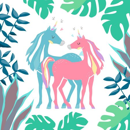 Beautiful cute pink and blue unicorns. couple of unicorns in love. isolated image. eps10 向量圖像