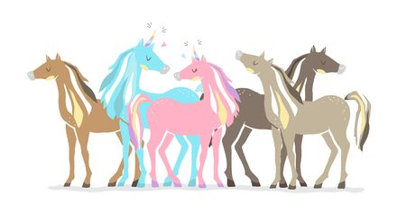 Beautiful cute pink and blue unicorns. couple of unicorns in love. isolated image. eps10 Banque d'images - 133782259