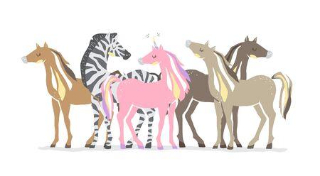 Group of animals. Beautiful cute pink unicorn, zebra and horses. couple of unicorn and zebra in love. isolated image.
