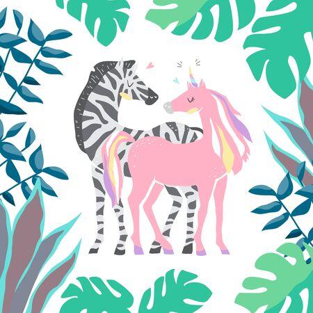 Beautiful cute pink unicorn and zebra. couple of unicorn and zebra in love. isolated image.