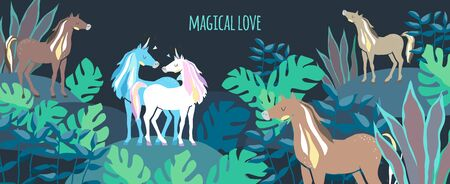 Group of animals. Beautiful cute white and blue unicorns and horses. couple of unicorns in love.