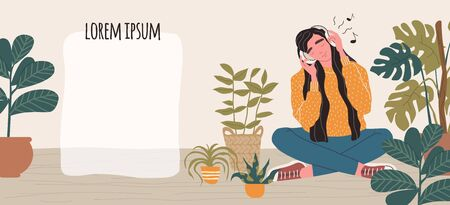 Young woman in headphones listening to music. Banner with place for text.
