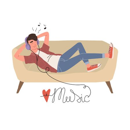 A man in headphones lies on a sofa and listens to music. Relaxed man with eyes closed enjoying music. Vector cartoon illustration.